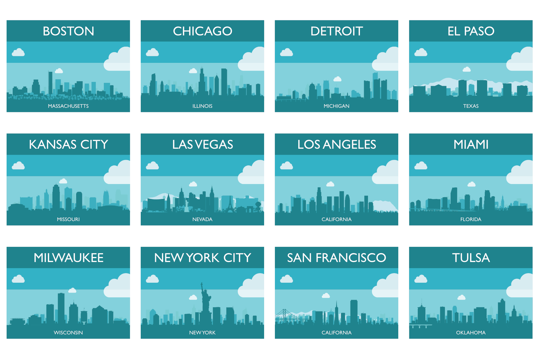 reference cards for us cities