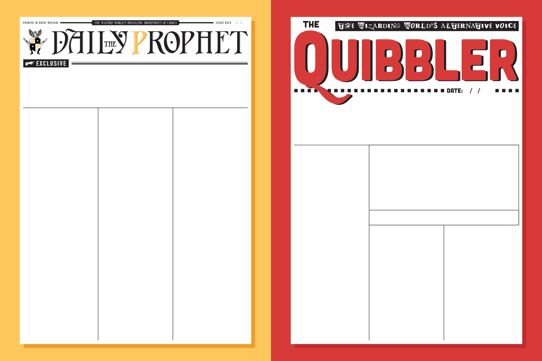 harry potter printable newspaper templates free daily prophet quibbler