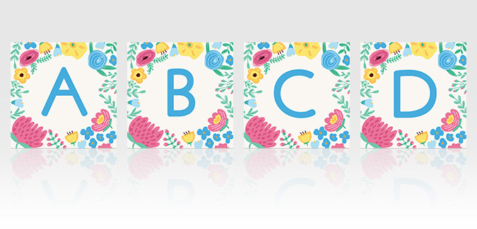 free flower alphabet spring display