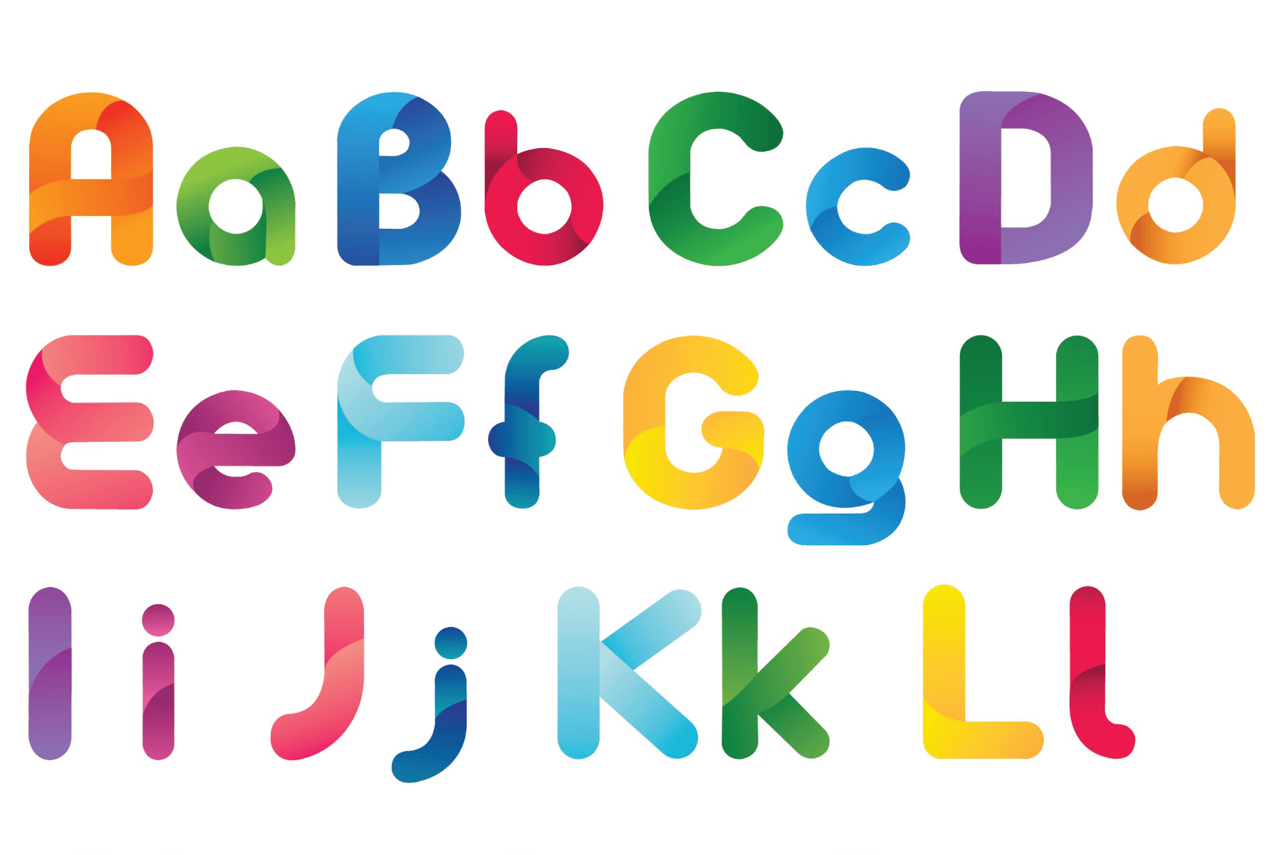 colourful rounded alphabet