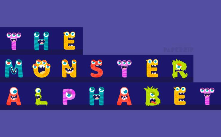 free monster letters alphabet